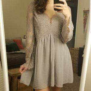 Tobi Grey Lace Dress